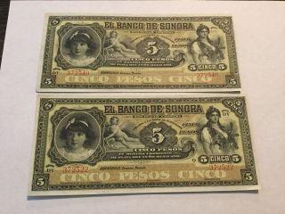 Two El Banco De Sonora Cinco 5 Pesos Mexican Banknote Crisp photo