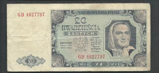 Poland 1948 20 Zlotych P 137 Circulated photo