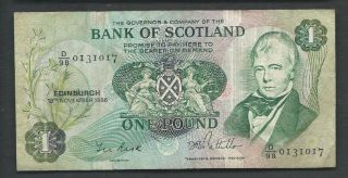 Scotland (bank Of Scotland) 1986 1 Pound P 111f Circulated photo