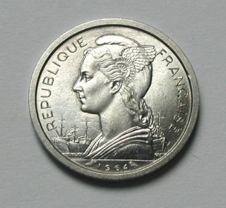 1964 Reunion (indian Ocean Island) French Aluminum Coin - 1 Franc - Unc - Lustre photo