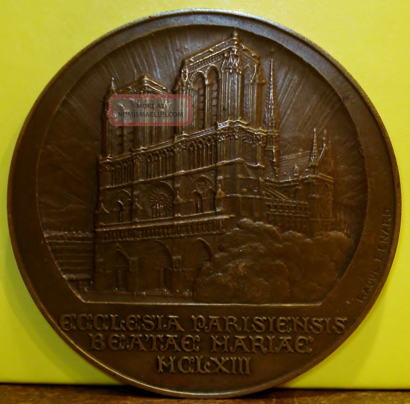 1927 Bronze Medal Of The Notre Dame Cathedral In Paris By Raoul Benard Exonumia photo