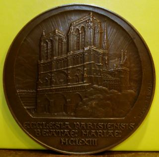 1927 Bronze Medal Of The Notre Dame Cathedral In Paris By Raoul Benard photo
