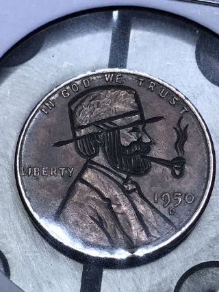 Coin Art Hobo Nickel Pipe 9 photo