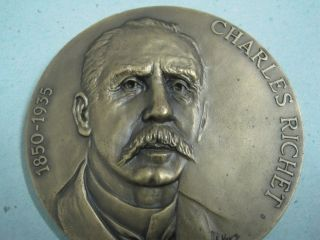 Nobel Prize For Medicine In 1913 Charles Richet 1850/1935 Bronze Medal photo
