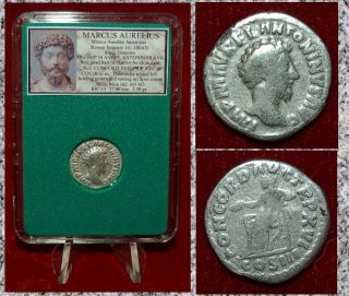Roman Empire Coin Marcus Aurelius Concordia Seated On Reverse Silver Denarius photo