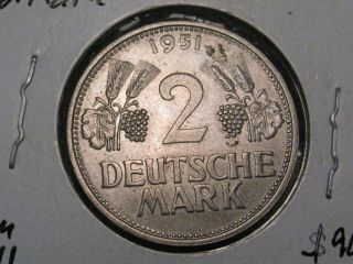 Key Date - Germany - Federal Republic 1951 G 2 Mark.  Scarce 26.  75mm Km 111 photo