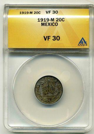 Mexico 20 Centavos 1919 - M, .  800 Silver,  Anacs Vf 30 photo