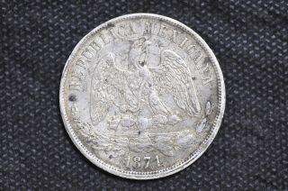 Mexico - Republic 1871 Go S Un Peso Silver Coin (weight : 26.  94 G) C01 photo