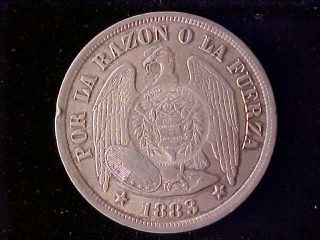 Guatemala 1894 Counterstamp On Chile One Peso 1883 Ef photo