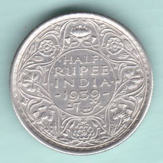 British India - 1939 - King George Vi Emperor - Half Rupee - Rarest Silver Coin photo
