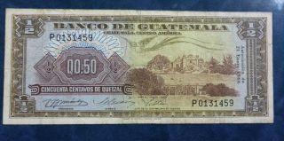 Guatemala Banknote 50 Centavos,  Pick 51c Vf - 1966 photo