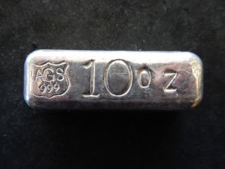 10 Ounce.  999 Fine Silver Ags Poured Silver Pyramid Bar 608 photo