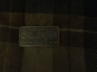 Engelhard Gold Standard Silver Bar.  10 Troy Oz.  Rare Non - Serialized. photo