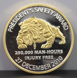 Dugout Canyon Mine Presidents Safety Award Dawgs 1 Oz.  999 Fine Silver Round photo