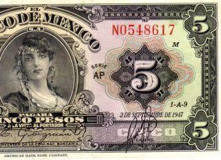 Mexico 1947 $5 Pesos Gypsy Girl Serie Ap (n0548617) photo