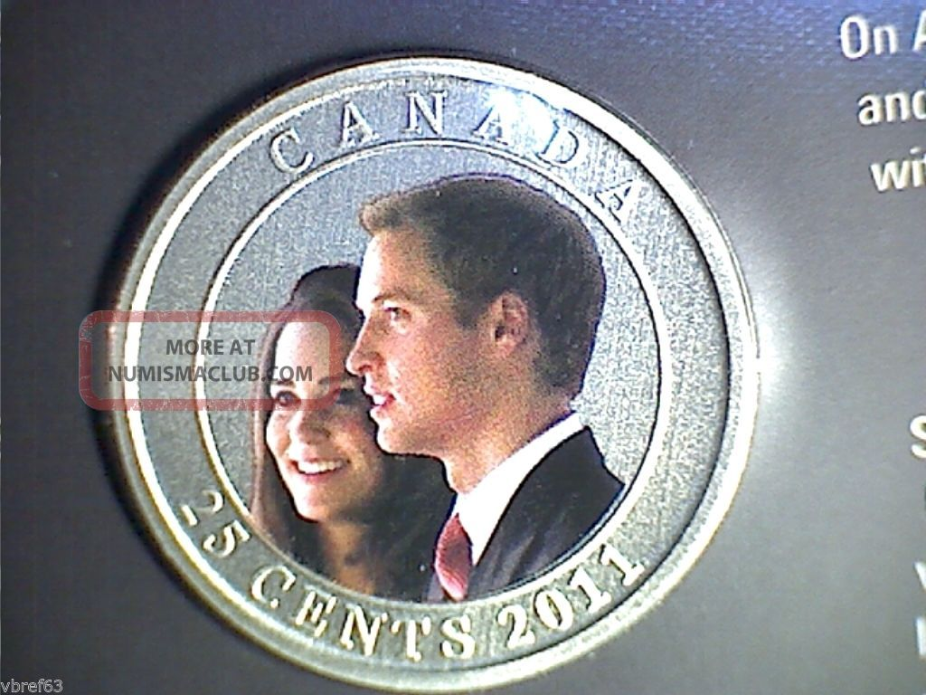 2011 Canada 25 Cent Coloured Coin - William And Kate Wedding Celebration: Coins: Canada photo