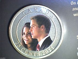2011 Canada 25 Cent Coloured Coin - William And Kate Wedding Celebration: photo