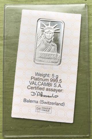 Credit Suisse 5 Gram.  9995 Pure Platinum Liberty Bullion Bar photo