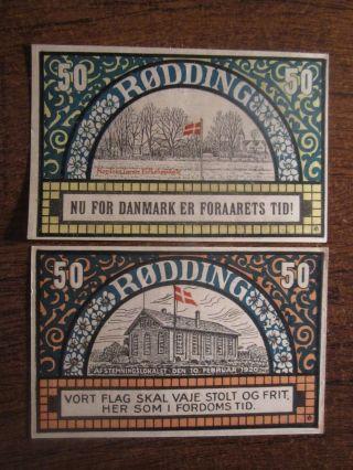 1920 Denmark Notgeld Rodding 2 Different photo