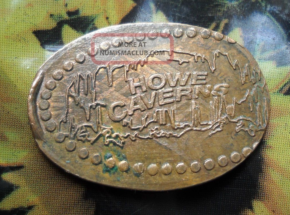 Howe Caverns Elongated Penny York Usa Cent 1842 Souvenir Coin Exonumia photo
