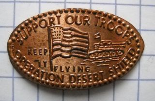 Operation Desert Shield Elongated Penny Usa Cent Support Troops Souvenir Coin photo