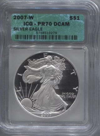 2007 - W Icg Pf70 Deep Cameo Proof Silver Eagle photo