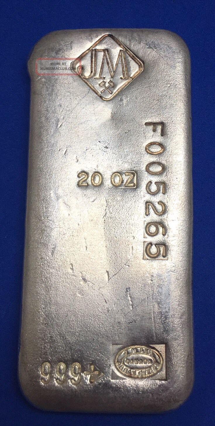 Johnson Matthey 20 Oz Old Poured Silver Bar - Rare Silver photo