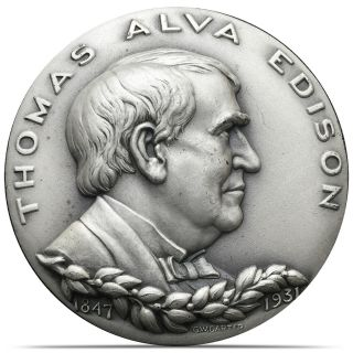 1965 Thomas Alva Edison Medallic Art Hall Of Fame N.  Y.  999 Silver Medal (0183) photo