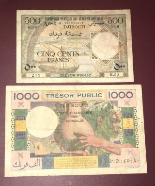 French Somaliland Djibouti Afars & Issas 500 & 1000 Francs Pick 27 & 28 Rare photo