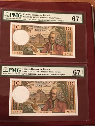 French France Running Pair 10 Francs Voltaire Pmg 67 Gem Unc Epq 1972 Pick 174d photo