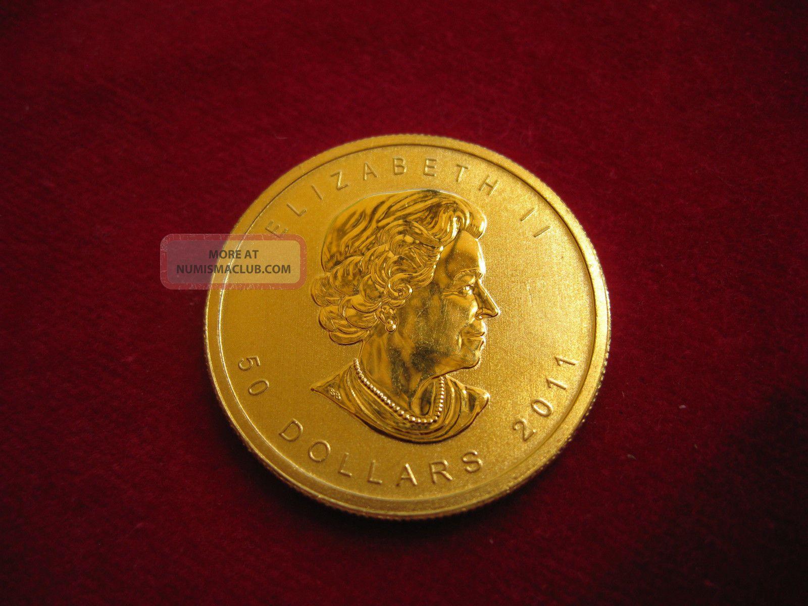 "Canadian ""$ 50"" 2011 Maple Leaf 24k Gold Coin One Ounce.  9999 Pure - Bullion photo"