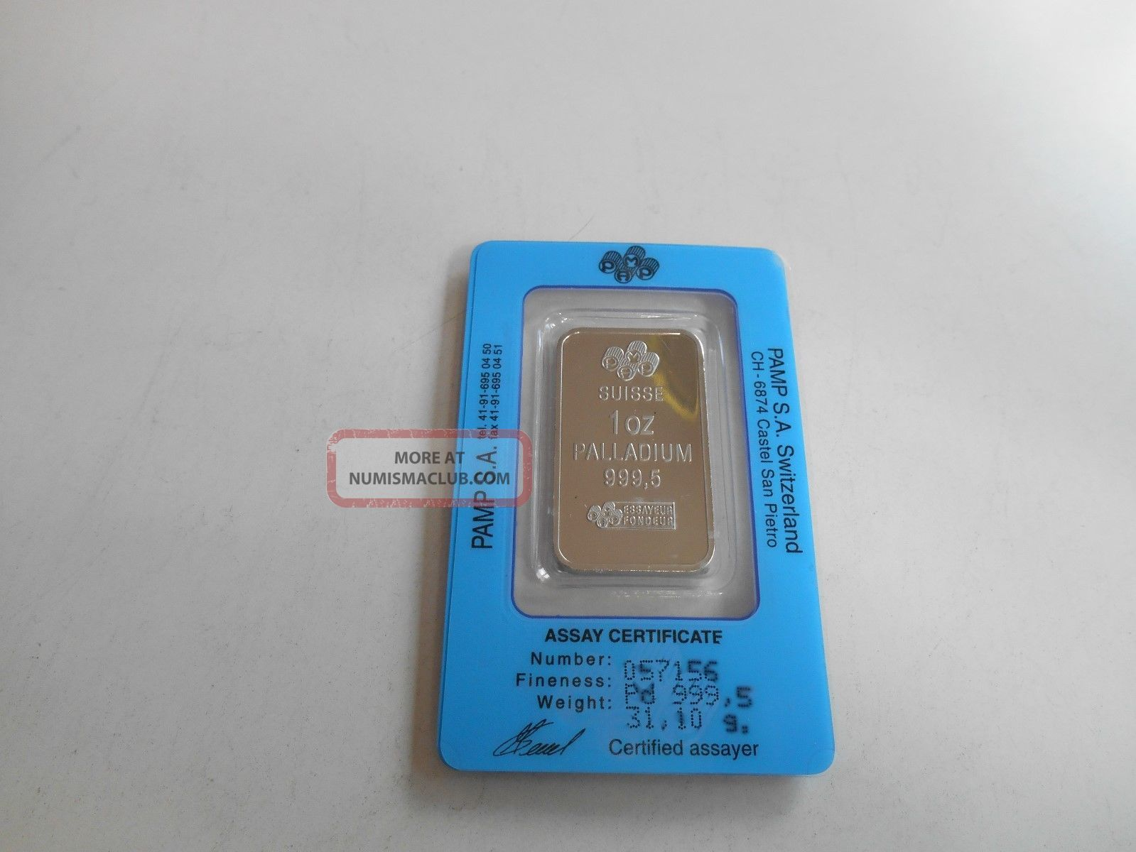 1 Ounce Palladium Bar - Pamp Suisse - Bullion photo