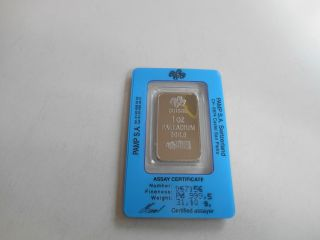 1 Ounce Palladium Bar - Pamp Suisse - photo