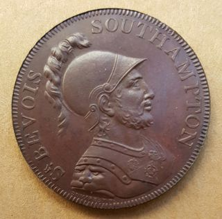 1791 Great Britain Hampshire Portsmouth Half Penny Conder Token D&h 89 Proof Unc photo