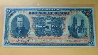 1914 5 Five Pesos Banco Oriental Puebla Mexico Revolutionary Currency photo