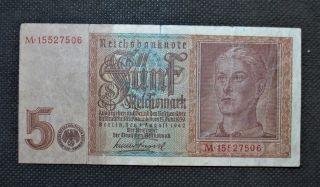 Old Bank Note Nazi Germany 5 Reichsmark 1942 World War Ii Swastika - M15527506 photo