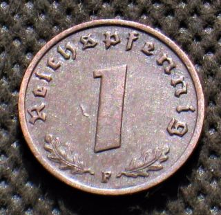Old Coin Nazi Germany 1 Reichspfennig 1937 F Stuttgart Swastika Third Reich photo
