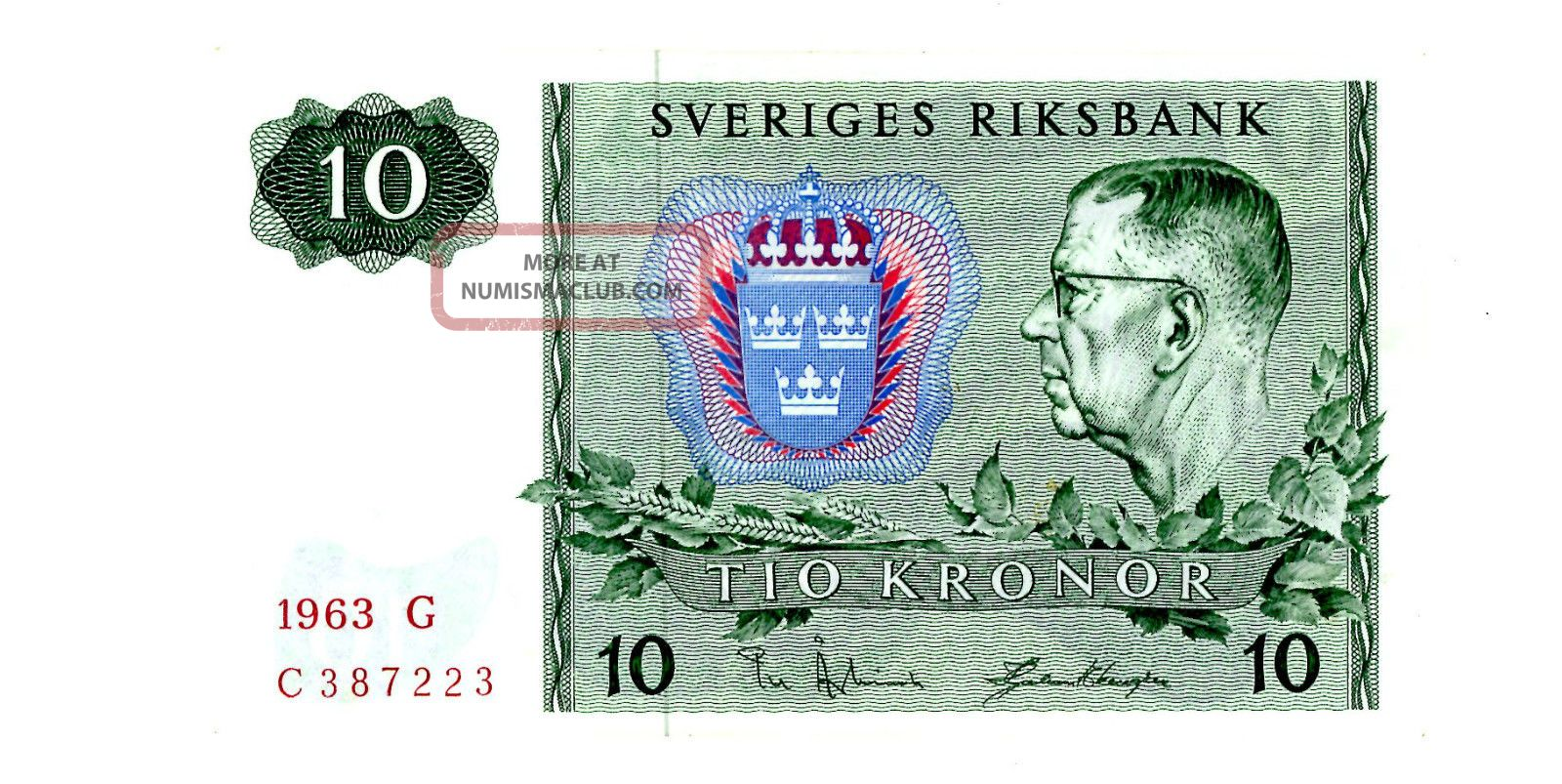 Sweden … P - 52a … 10 Kronor … 1963 … Unc Europe photo