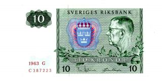 Sweden … P - 52a … 10 Kronor … 1963 … Unc photo