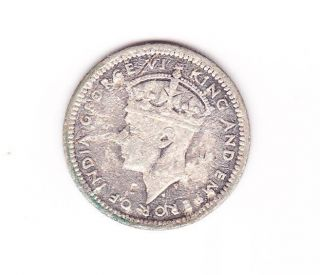 British Malaya King George Vi 5 Cents Silver Coin.  1945 photo