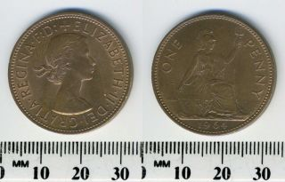 Great Britain 1964 - 1 Penny Large Bronze Coin - Queen Elizabeth Ii photo