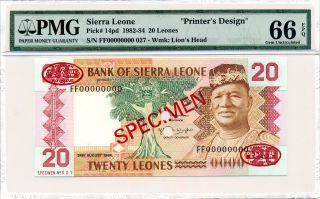 Bank Of Sierra Leone Sierra Leone 20 Leones 1984 Printer ' S Design Pmg 66epq photo