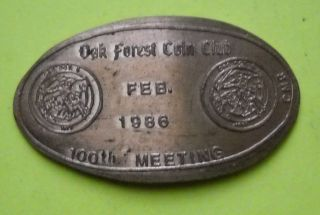 Oak Forest Coin Club Elongated Penny Illinois Usa Cent 1986 Souvenir Coin photo