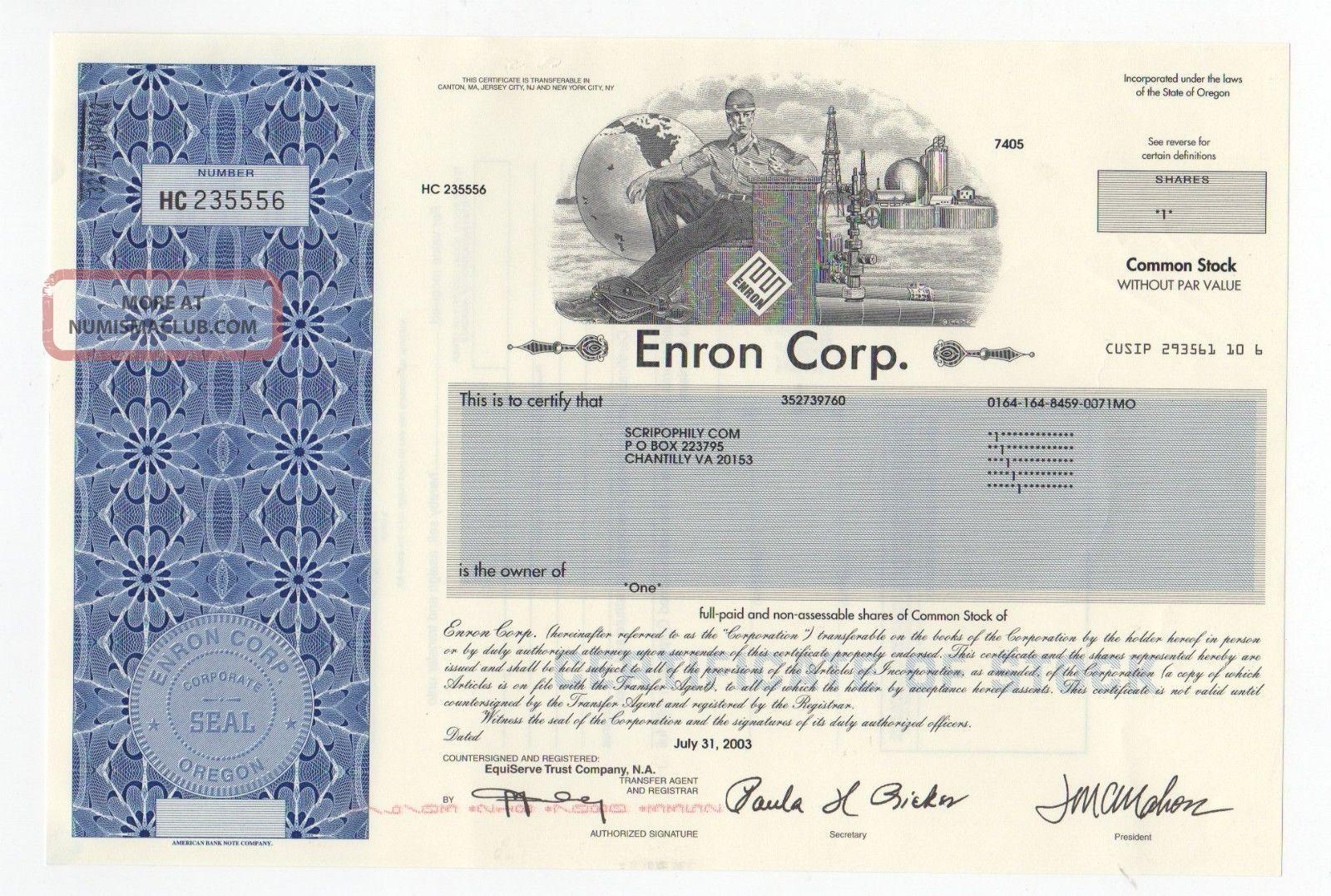 Enron Corp.  Stock Certificate Stocks & Bonds, Scripophily photo