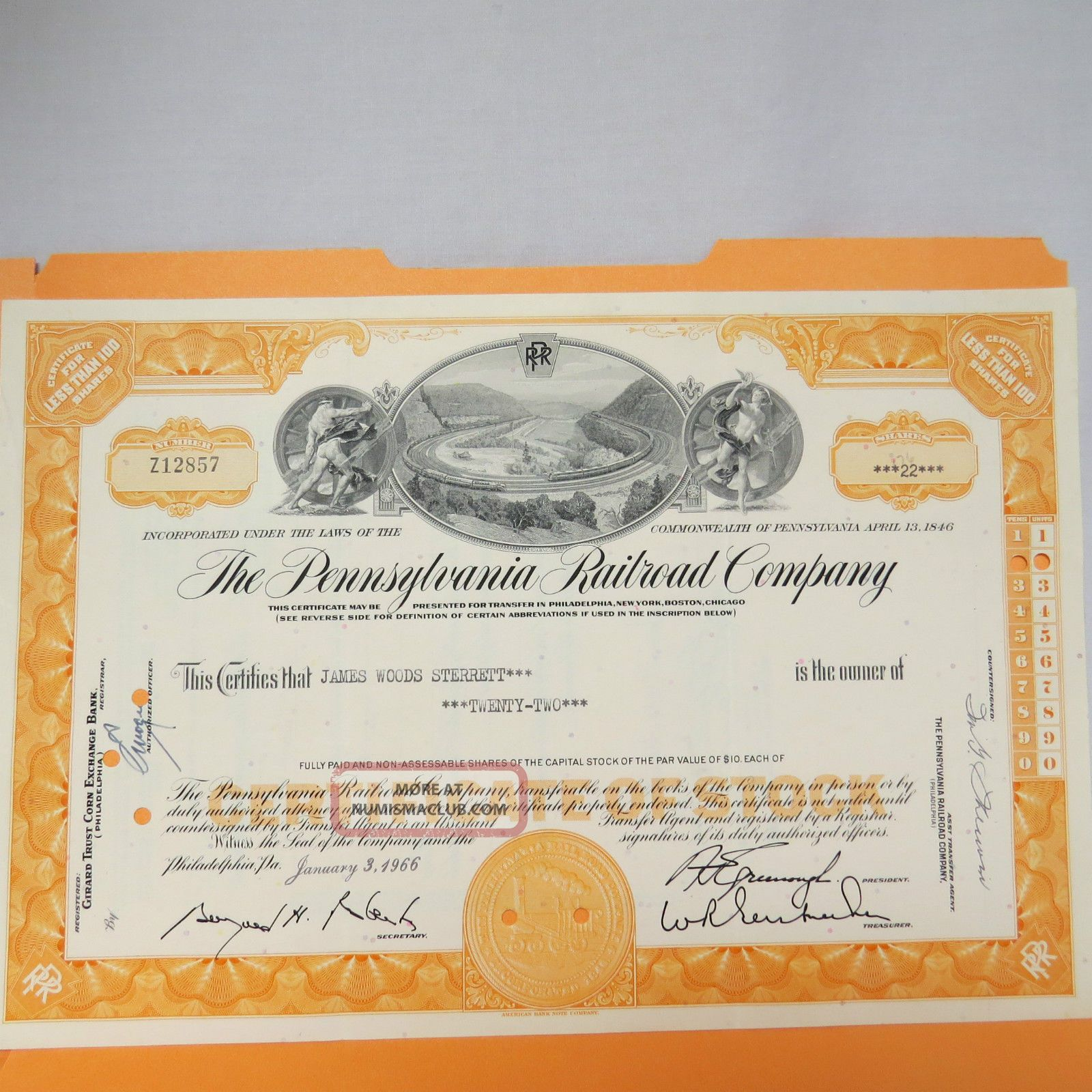 1966 Pennsylvania Railroad Company Stock Certificate 22 Shares James Woods Sterr Transportation photo