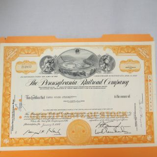 1966 Pennsylvania Railroad Company Stock Certificate 22 Shares James Woods Sterr photo