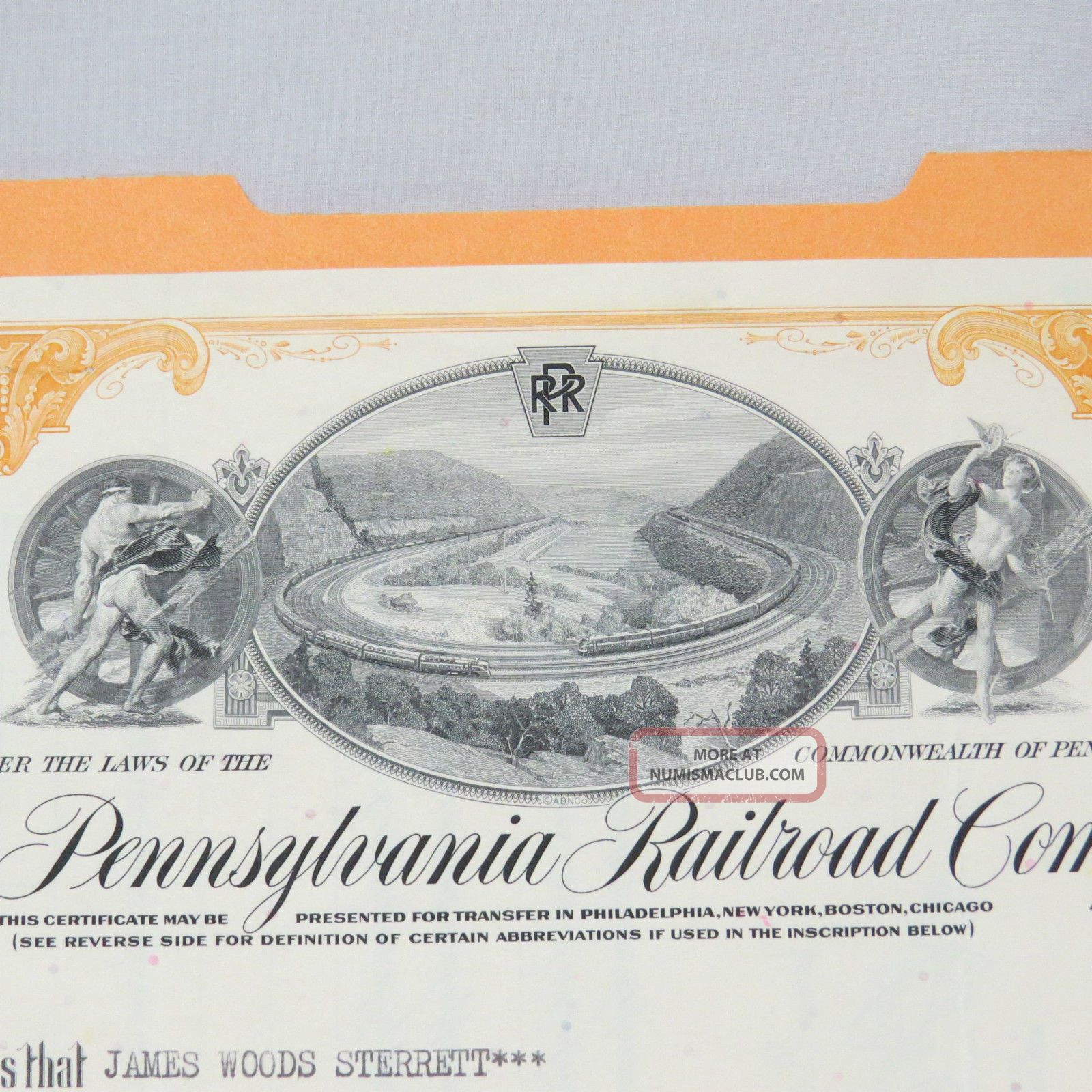 1966 Pennsylvania Railroad Company Stock Certificate 22 Shares James