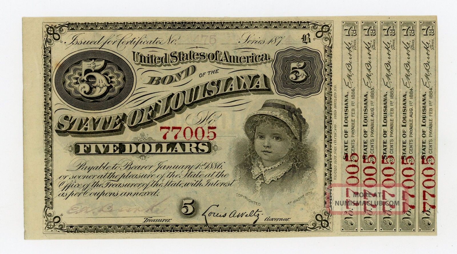 1874 $5 The State Of Louisiana Baby Bond Au Paper Money: US photo