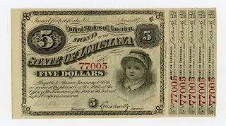 1874 $5 The State Of Louisiana Baby Bond Au photo