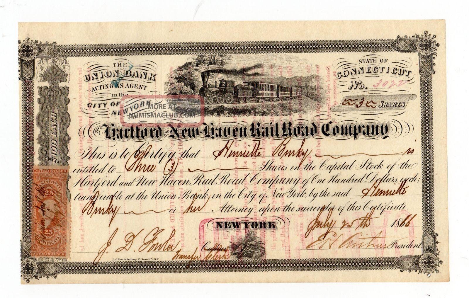 1866 Hartford And Haven Railroad Company Stock Certificate Transportation photo